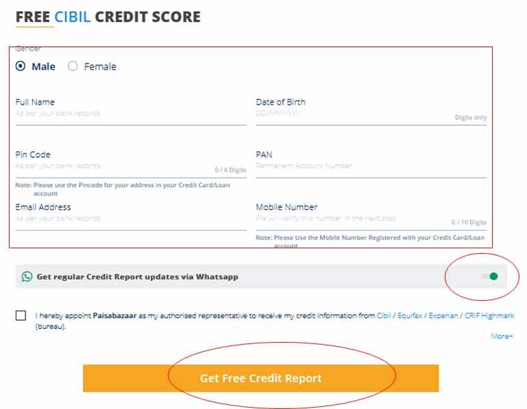 Paisabazar Free CIBIL Score Report