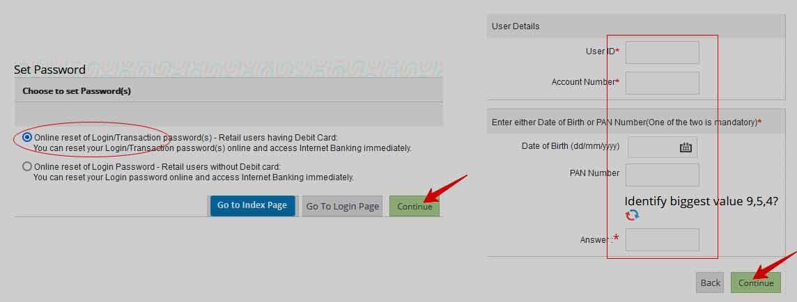Union Bank of India Internet Banking Password Reset